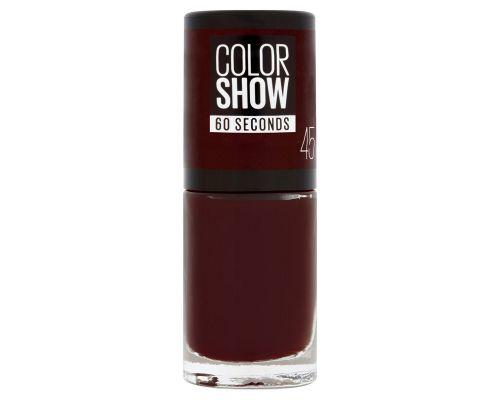 Un Vernis à ongles Colorshow Gemey-Maybelline Rouge Foncé