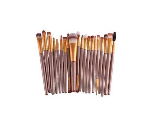 un Set de 20 Pinceaux Brush pour Maquillage Couleur Or