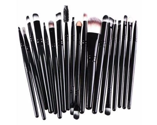un Set de 20 Pinceaux Brush pour Maquillage Couleur Noire