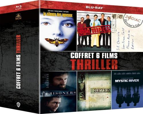 a Film Set 6 Thriller Films: Seven + Usual Suspects + Silence Of The Lambs + Mystic River + Prisoners + Zodiac [Blu-Ray]