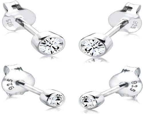 A Pair Of Elli Solitaire Earrings Women's Set
