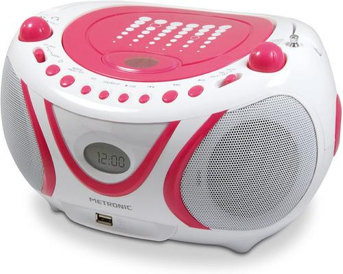a Metronic 477109 Radio / CD / Mp3-soitin Pop Pink USB-portilla