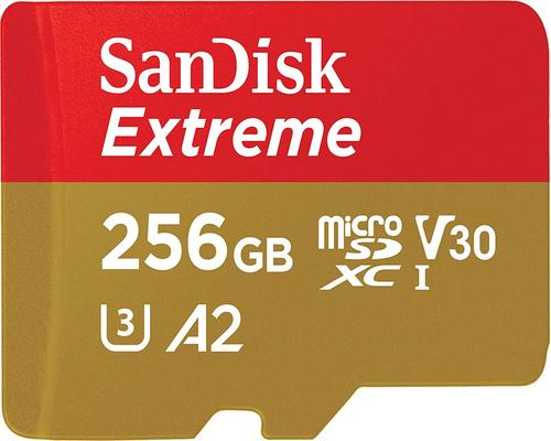 a Sandisk Extreme 256 GB Sdxc Memory Card + Sd Adapter With A2 Application Performance Up to 160 MB / S