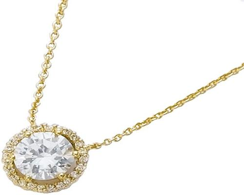 a Pendant In Gold Plated And Cubic Zirconia