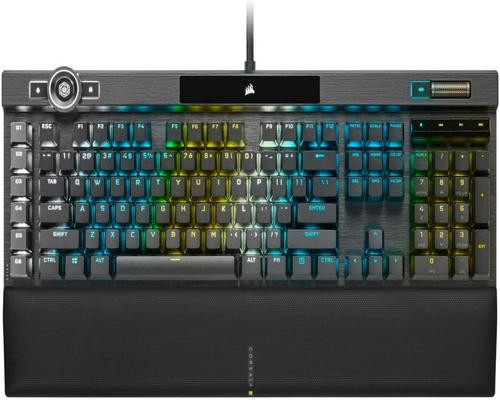 a Gaming Keyboard Corsair K100 Rgb Optical-Mechanical Gaming Keyboard - Corsair Opx Rgb Optical-Mechanical Keyswitches - Axon Hyper-Processing Technology For 4X Faster T