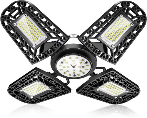 Led Garage Lighting Ceiling Light, 80W 6000K 11200Lm 216Led Deformable Workshop 4 Adjustable Panels