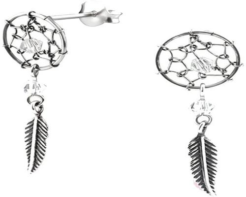 A Pair Of Earrings In Silver 925/000 And Transparent Swarovski Crystal