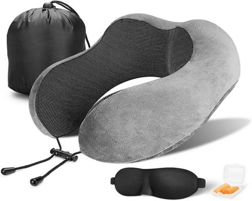 Pillow, Memory Foam Cushion Neck Support With Earplugs And Mask For Car Airplane And Home Use