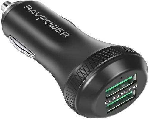 en Ravpower Quick Charge 3.0 biloplader 40W 2-port usb cigarettænder
