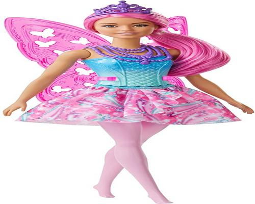 a Barbie Dreamtopia Fairy Doll With Pink Hair