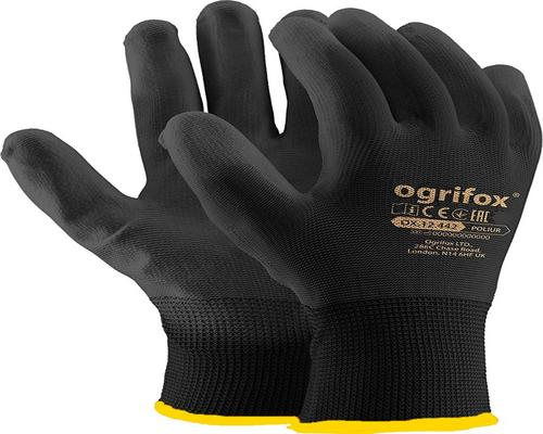a Pack Of 12 Pairs Of Nylon Glove With Black Pu Coating Size Xl