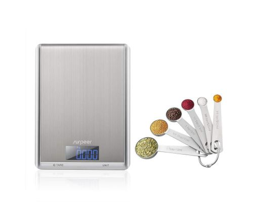 An Electronic Kitchen Scale with measuring spoons