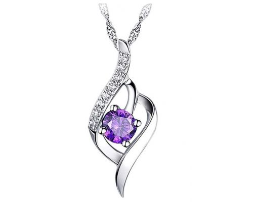 A Necklace with Purple Zircon Pendant