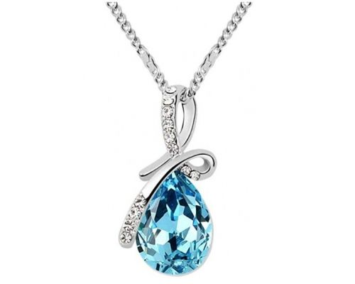 A Necklace with Blue Topaz Pendant