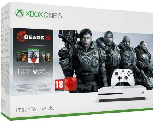 An Xbox One S Console with Gears 5