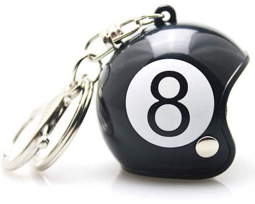 A Custom Eight Ball Motorcycle Helmet Keyring