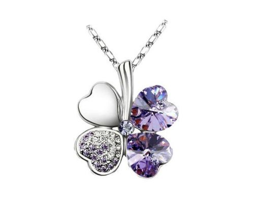an ICandy Heart Purple Clover Pendant